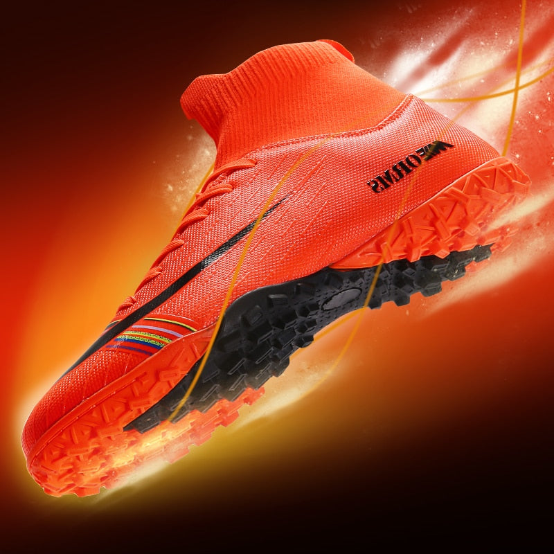 Men Soccer Football Boots Cleats Boots Ankle Long Spikes TF Spikes High Top Sneakers Soft Indoor Turf Futsal Child Soccer Shoes