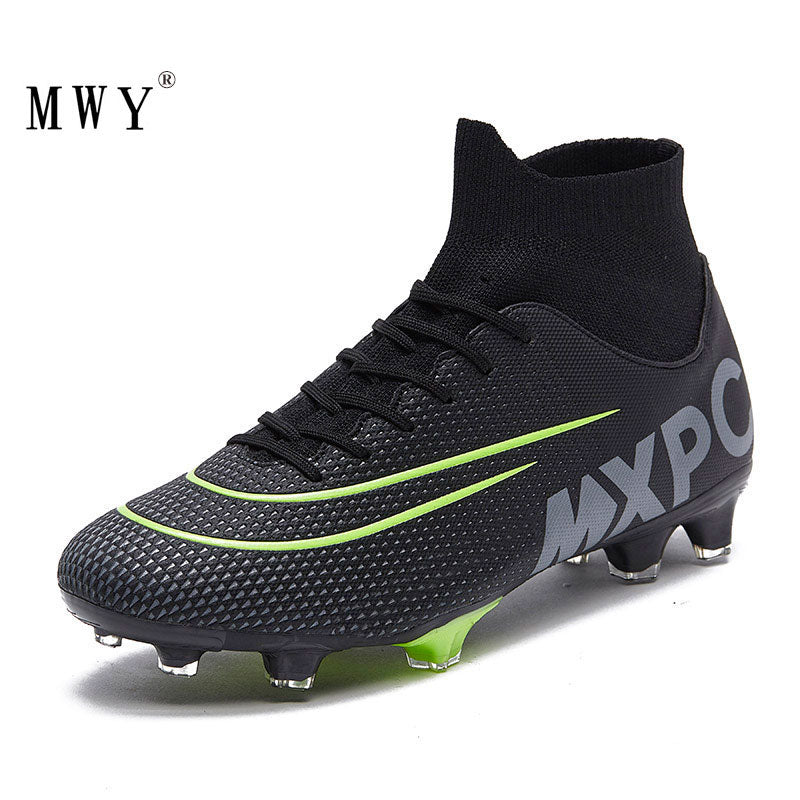 MWY Mens Soccer Cleats High Ankle Football Shoes Long Spikes Outdoor Training Sneakers Turf Futsal Shoes Zapatillas De Futbol