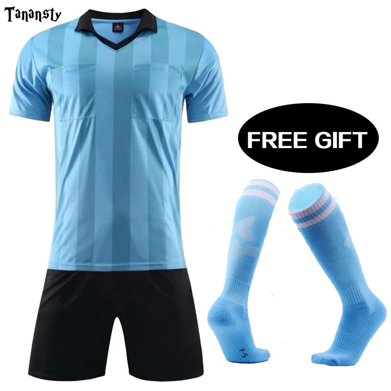 Mens referee soccer jerseys judge football uniform tracksuits men's maillot de foot training football shirt set training suit