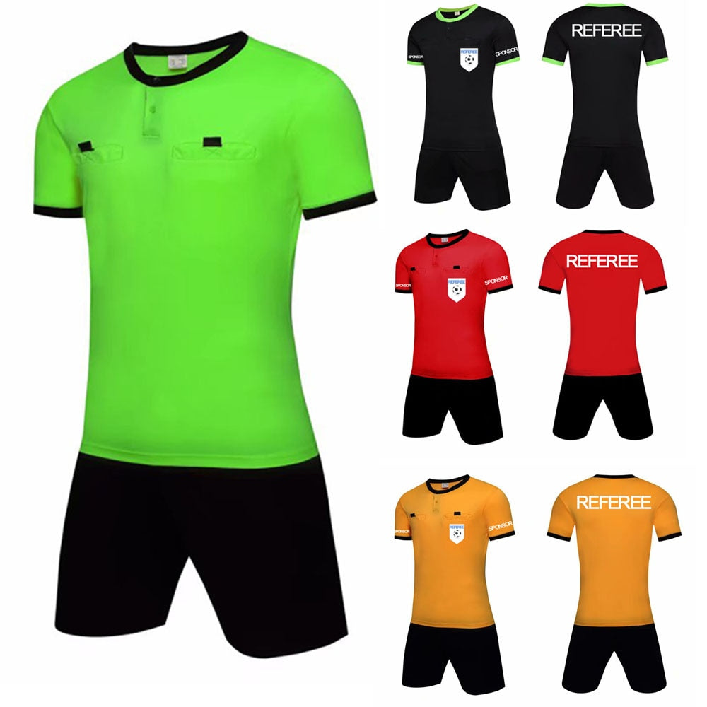 Men Football Referee Jersey Professional Customized Blank Referee Shirt Sets Soccer Judge Uniforms Short Sportswear