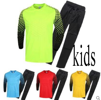 Kids Boys Soccer Goalkeeper Jerseys Survetement Football Shirts Goalkeeper Child yonth Training Jersey Clothing Pants Suit