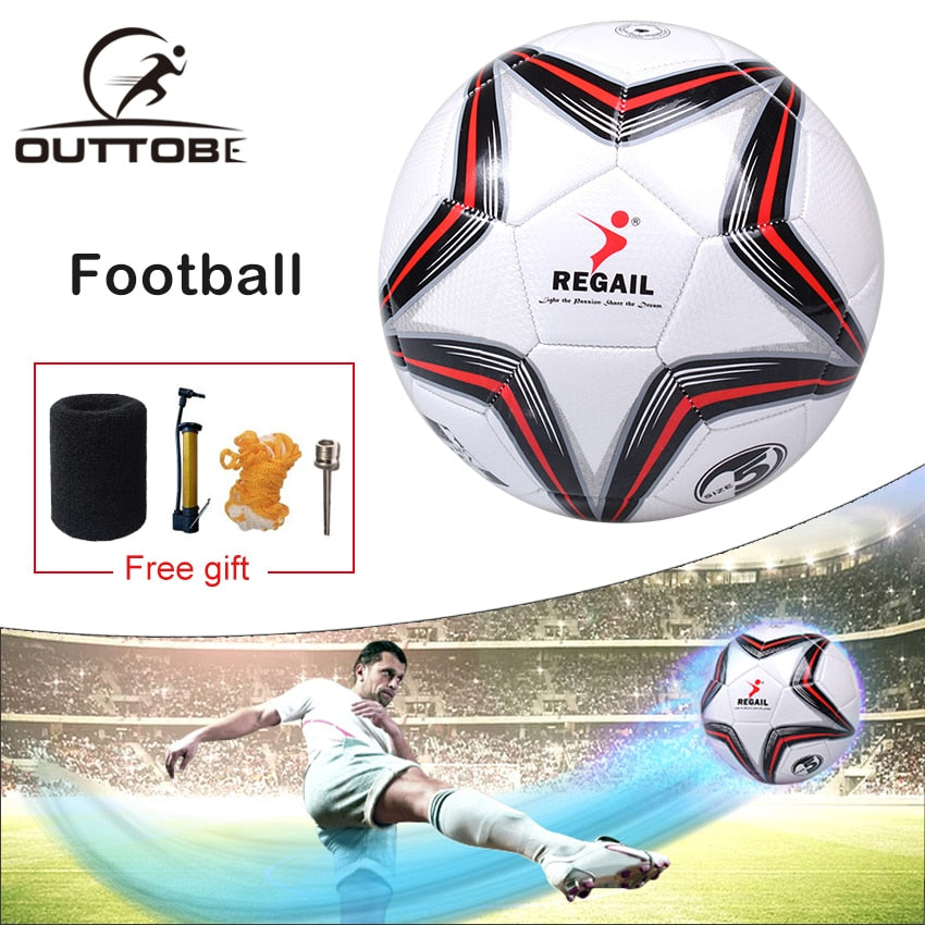 Outtobe Size 5 Soccer Ball Football Seamless Anti-slip PU Children Football Indoor/outdoor Training Soccer with Free Inflator