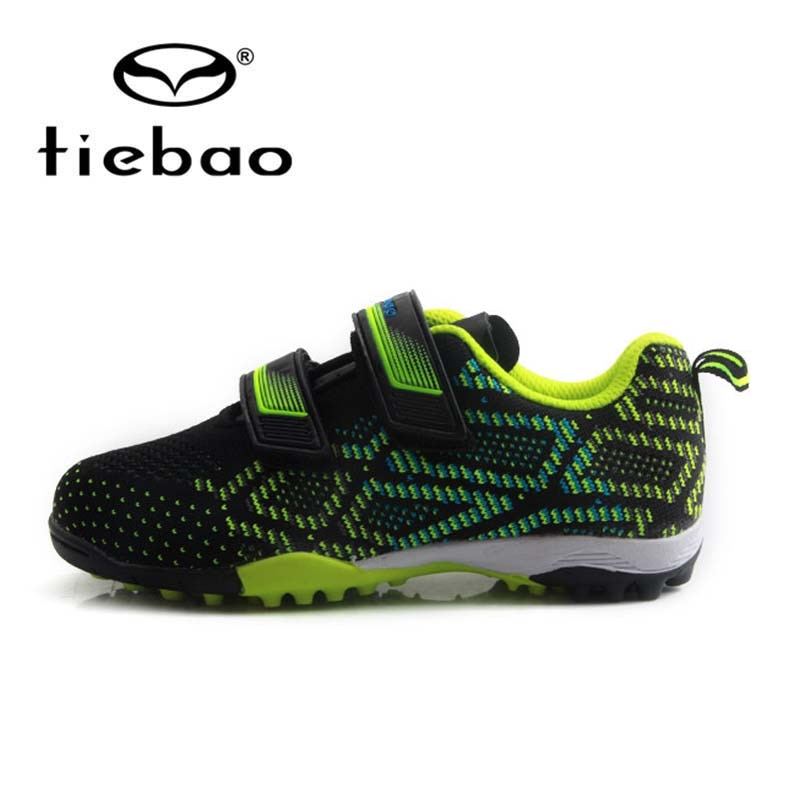 TIEBAO Children's Football Boots Breathable Knit Upper Soccer Shoes TF Turf Sports Sneakers Rubber Outsoles Kids Football Shoes