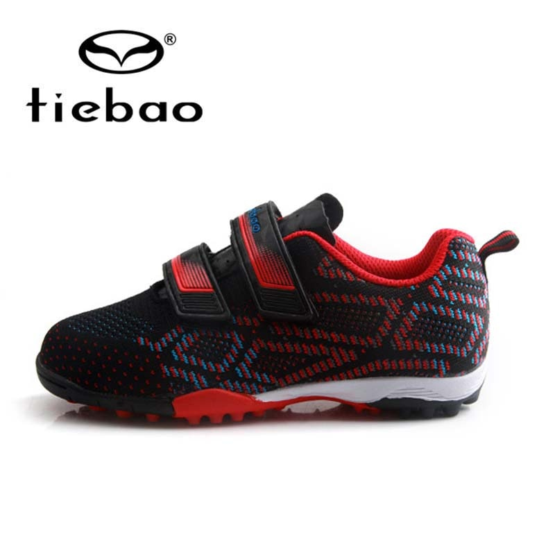 TIEBAO Kids Soccer Shoes Boys Sports Football Boots TF Turf Rubber Outsole Sneakers Girls Football Shoes Futebol EU 25-30
