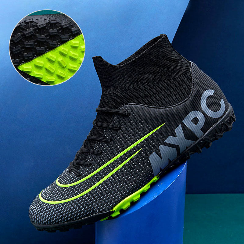 MWY Turf Black Men Soccer Shoes Teens Training Football Boots Cleats High Ankle Sport Shoes Non-slip Rubber Women Sneakers