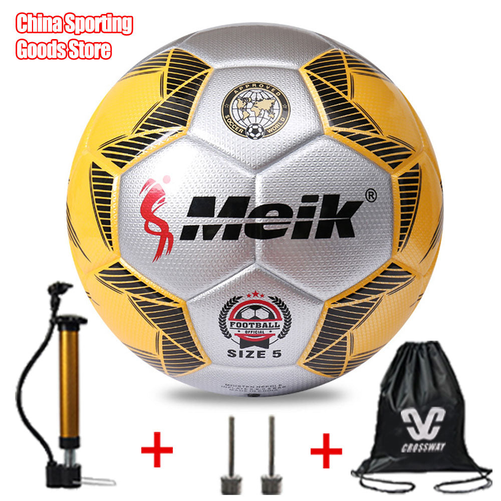 New style football, size 5, thick reinforced double PU high strength, high quality football free air pump + air needle + bag