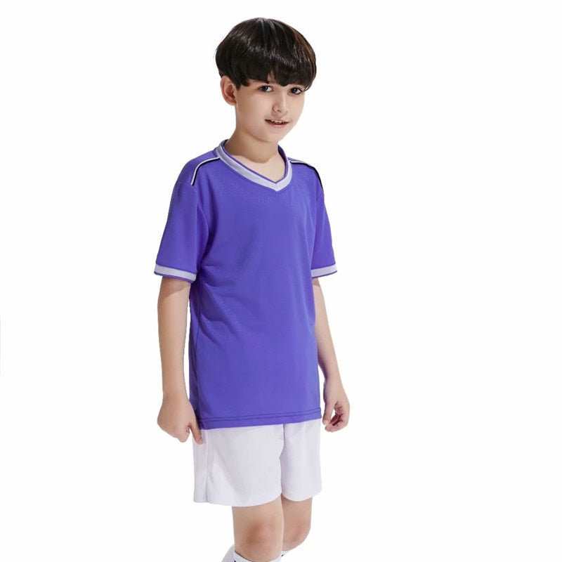High Quality Kids Soccer Jerseys Sets Survetement Football Kits Quick Dry Futbol Jerseys Training Cheap Uniforms Sets Customized