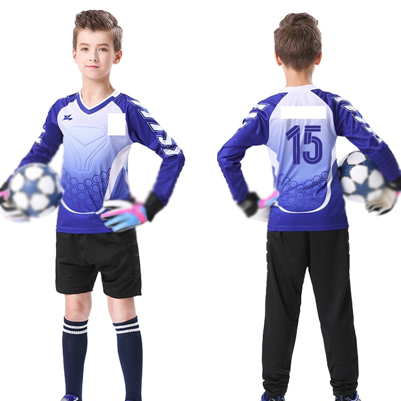 Kids Soccer Jersey 2PCS Children's Goalkeeper Suit Custom LOGO Name Number Sports Training Team Uniform Thick Sponge Anti-drop