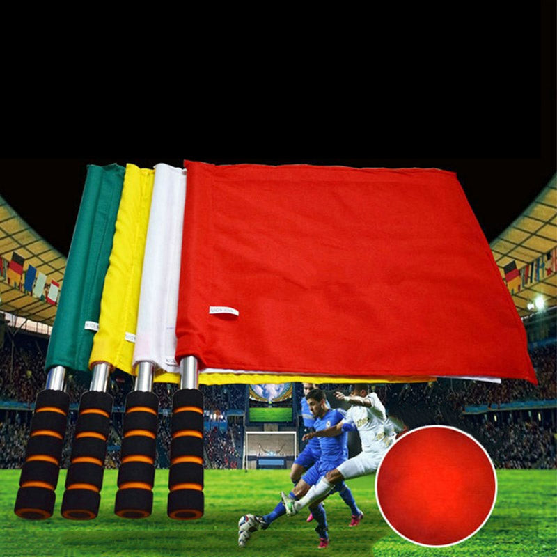 New Style Referee Flag signal Flag Track And Field Competition Signal Flag Stainless Steel Grip Command Soccer Referee Flag
