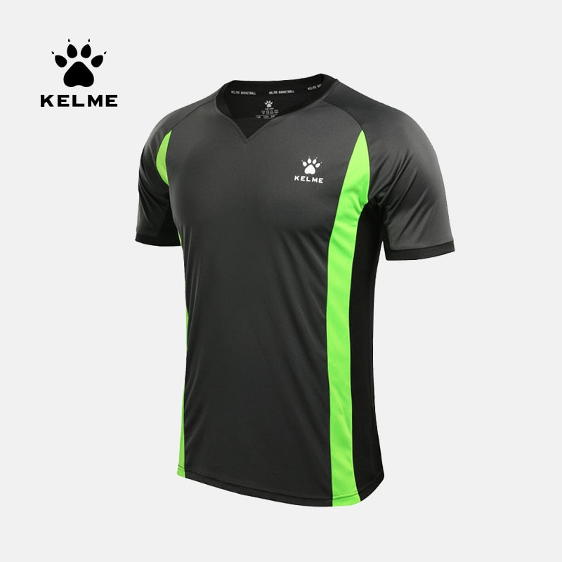 KELME New Quickly Dry Breathable Sport Gym Shirt Men Fitness Soccer referee Jerseys Running T Shirt 3881027