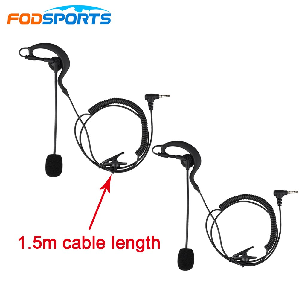 2pcs Fodsports 3.5mm Jack Earhook Earphone Headphone & Microphone Suit for V6 V4 Bluetooth Intercom Football Referee Judge Biker
