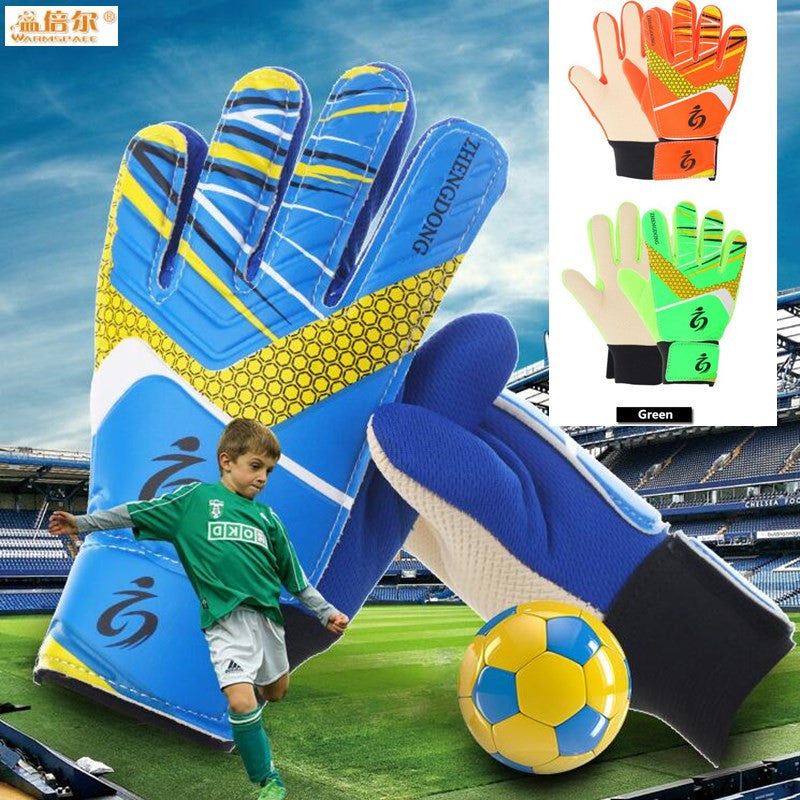 Children Boys Football Fans Goalkeeper Gloves,Non-slip Foaming PU Leather Soccer Gloves,Suitable for 7-15 age Boys Goalie Gloves