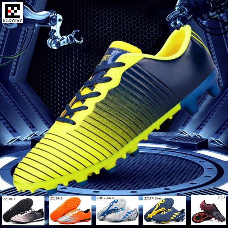 Pro Junior Soccer Shoes,Youth Football Sneakers,Kids' Girl&Boy Broken Nails Long Spikes Outdoor Lawn Training&Match Sport Shoes