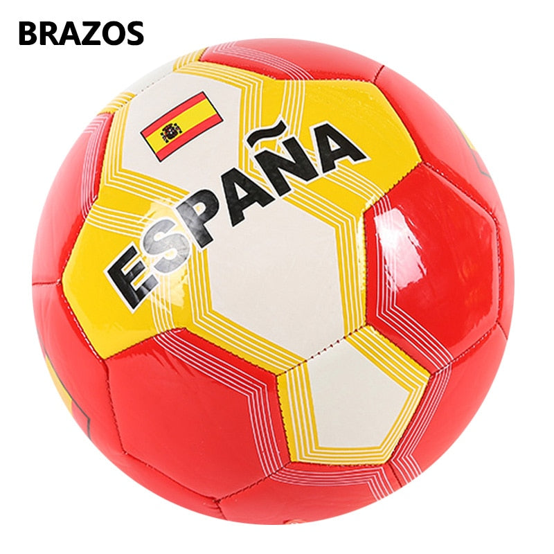 Outdoor Official Size 5 Soccer Ball Teenagers Football Ball PVC National Flag Futebol Training Sport Machine Seam Balls Futbol