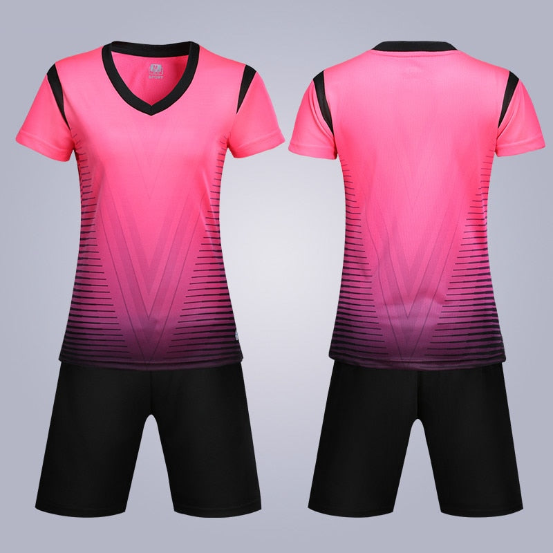 New Women Kids Adult Soccer Jerseys Set Breathable Survetement Football Jerseys Set Girls Children Soccer Team Training Uniforms