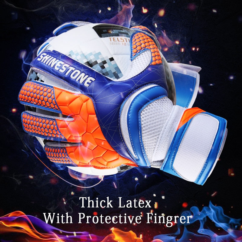 Shinestone Kids Adults Size Soccer Goalkeeper Gloves Professional Thick Latex Soccer Goalie Gloves With Finger Protection