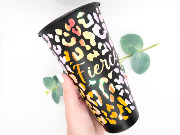 24 oz Fierce Leopard Matte Black Reusable Cold Cup