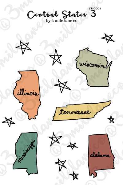 Central States 3 Sticker Sheet
