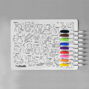 ABC | Into the Wild - HeyDoodle Reusable Mat & Markers