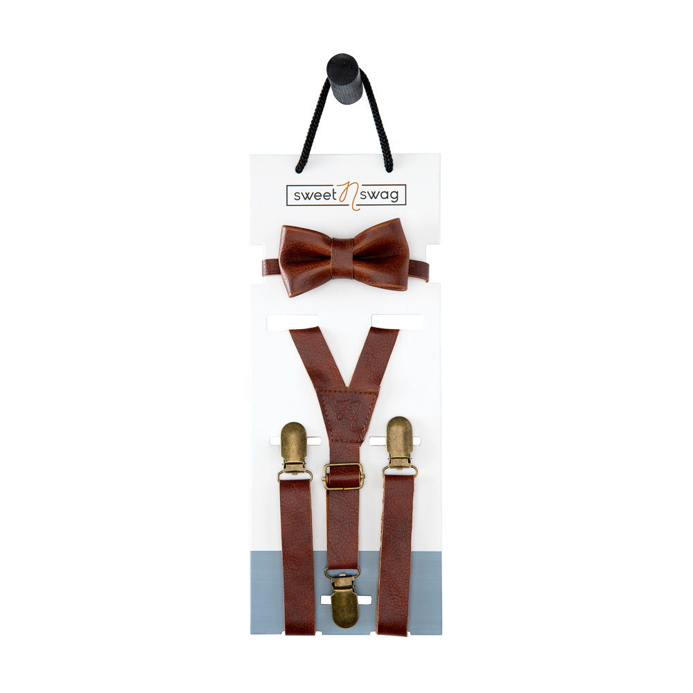 BOW TIE SET - THE PERFECT MATCH - CHESTNUT