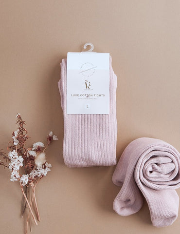 Classic Ribbed Tights-Rose Blush