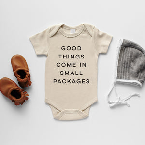 Cream Good Things Come In Small Packages Organic Bodysuit