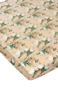 Fitted Crib Sheet - Blushing Protea