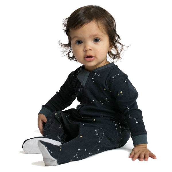 Galaxy Love - Navy- Footed Babysuit