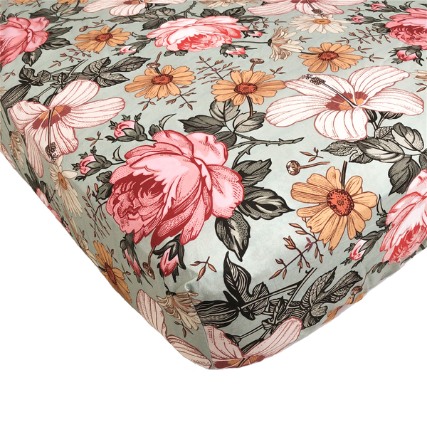 Crib Sheet- Sea Foam Garden Floral