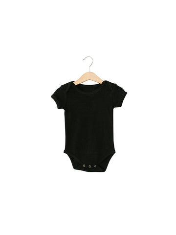 Organic Short Sleeve Bodysuit-Black