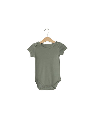 Organic Short Sleeve Bodysuit-Neutral Grey