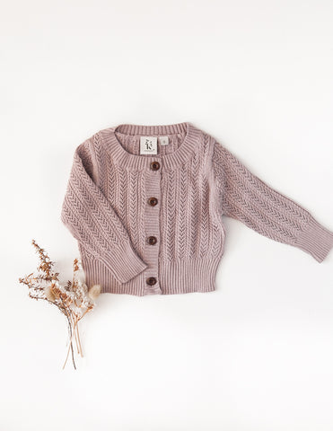 Penny Light Cotton Knit Cardigan - Marle Pink