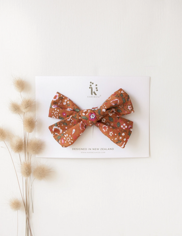 Poppy Cotton Bow- Burnt Orange Floral