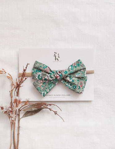 Poppy Cotton Headband- Green Floral