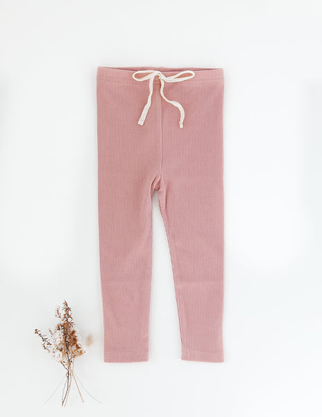 Ribbed Cotton Leggings - Blush