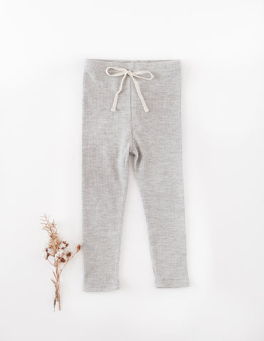 Waffle Cotton Leggings - Marle Grey