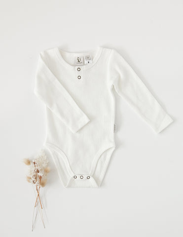 Willow Long Sleeve Waffle Cotton Bodysuit - Whipped Cream