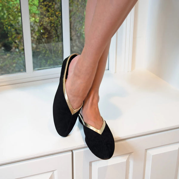 Black Suede Slipper with Gold Trim