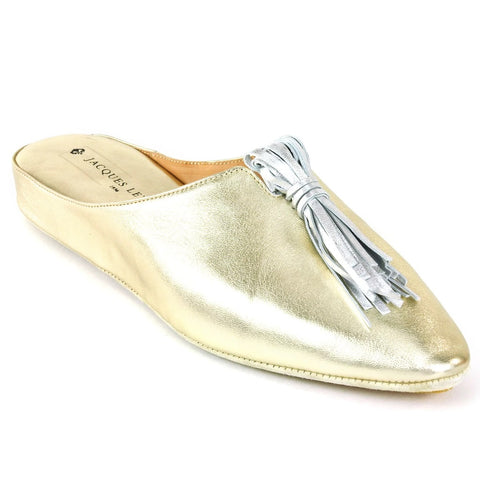 Gold Leather Slippers with Tassels
