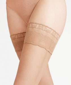Lunelle 8 Peacock Lace Stay-ups - Nude