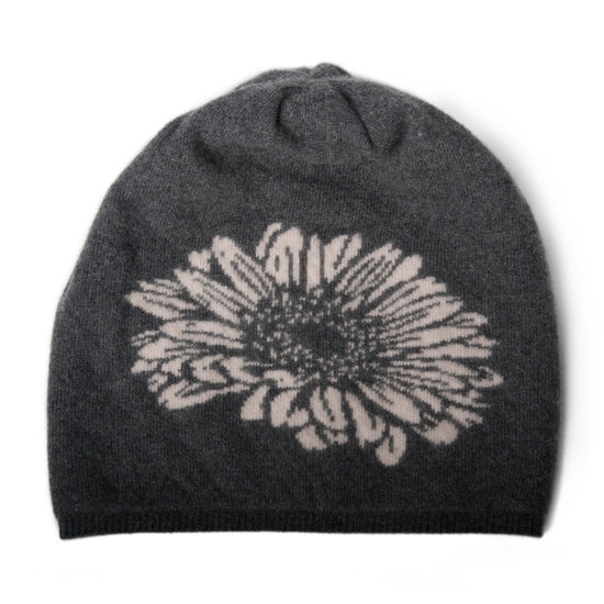 CASHMERE HAT WITH FLOWER - East Hills Casuals