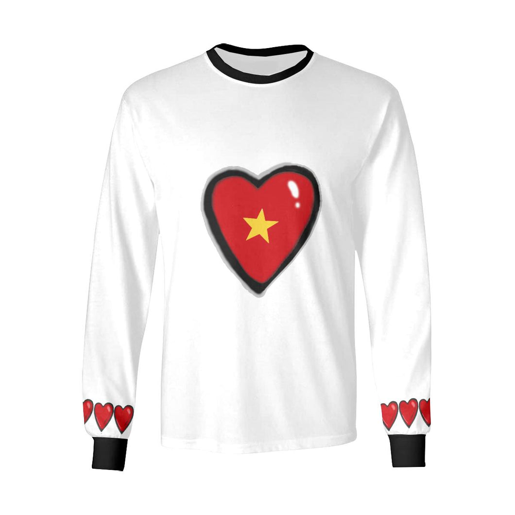 Heart Chain Long Sleeve White T-Shirt by interestprint - East Hills Casuals