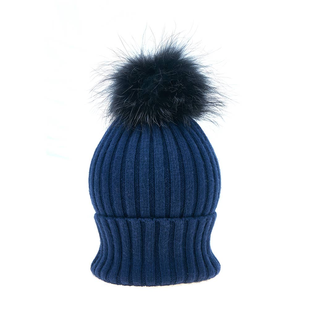Navy Vail Hat and Pom-Pom Set - East Hills Casuals