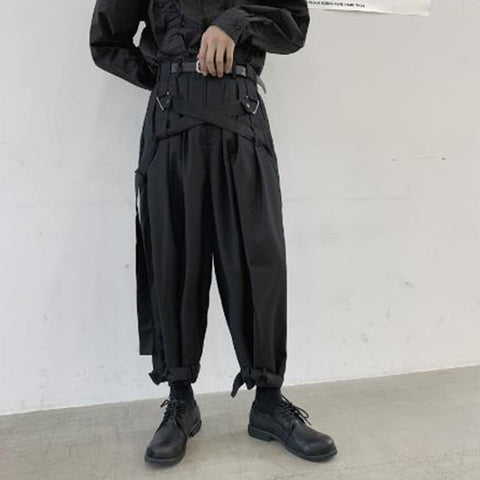 Men Japan Streetwear Punk Gothic Bandage Casual Harem Pant Male Vintage Hip Hop Wide Leg Trousers Stage Clothing Kimono Pant