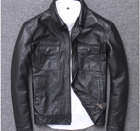 YR!Free shipping.sales.$99.99 cowhide jacket.mens genuine leather coat.vintage casual leather outwear.classic leather clothing