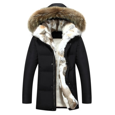 Men's and Women's  Leisure Down Jacket 2020 Winter Thick Hood  Detached Warm Waterproof Big Raccoon Fur Collar For -30 Degrees