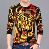 New men's fashion long-sleeved T-shirt  3D printed personality trend style men's clothing young and middle-aged clothing M - 4XL