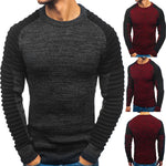 Men's Fashion Turtleneck Rotator Cuff Striped Pleat Matching Color Sweater Pull-over Sweater Men Clothing 2020