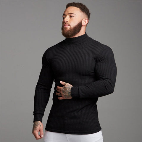 Autumn Winter Fashion Turtleneck Mens Thin Sweaters Casual Roll Neck Solid Warm Slim Fit Sweaters Men Turtleneck Pullover Male