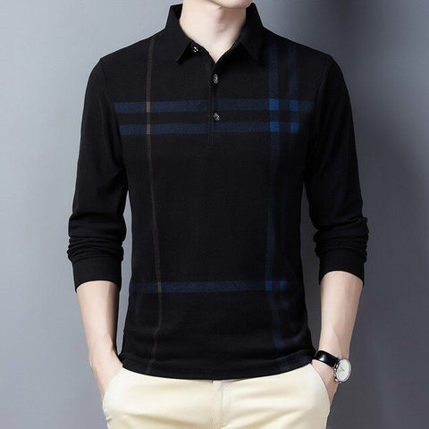 Ymwmhu 2020 New Arrival Men Thick Polo Shirt Striped Casual Autumn and Spring Warm Clothing Korean Business Polo Shirt